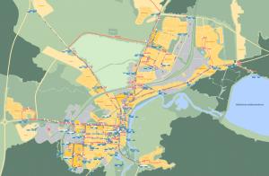 Вилейка: карта тайм-логистики велосипедной сети
